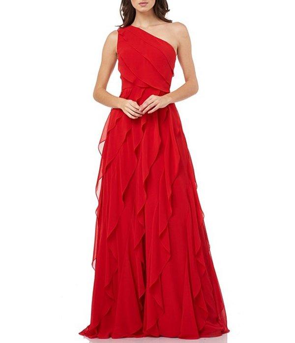 カルメンマークヴァルヴォ レディース ワンピース トップス One Shoulder Ruffle Chiffon Gown Cherry Red