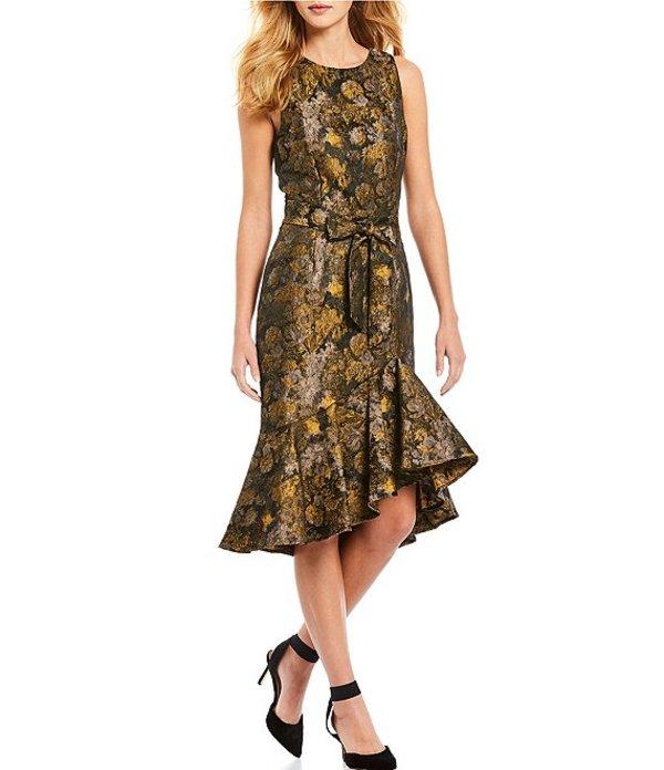アントニオ メラーニ レディース ワンピース トップス Victoria Sleeveless Tie Waist Jacquard Hi-Low Ruffle Hem Midi Dress Gold/Taupe