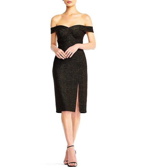 アイダンアイダンマトックス レディース ワンピース トップス Off-the-Shoulder Slit Front Knit Midi Sheath Dress Black Gold