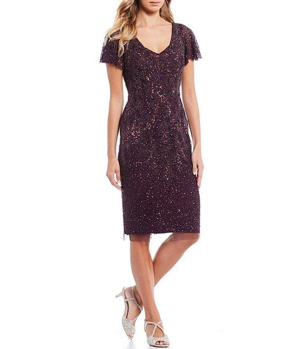 アドリアナ パペル レディース ワンピース トップス Beaded V-Neck Short Flutter Sleeve Sheath Dress Night Plum