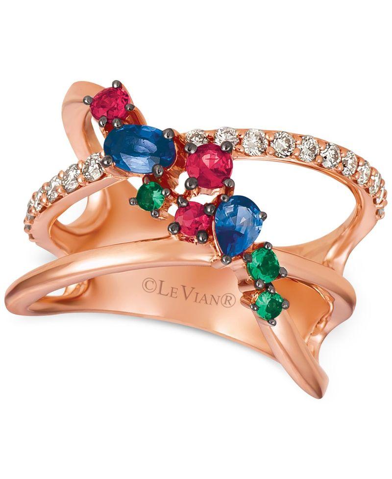 高級素材使用ブランド ル ヴァン t.w.) レディース Rose リング (1/3 アクセサリー Multi-Gemstone (5/8 ct. t.w.) & Nude Diamonds (1/3 ct. t.w.) Statement Ring in 14k Rose Gold Sapphire, 松島町:512cbb19 --- villanergiz.com