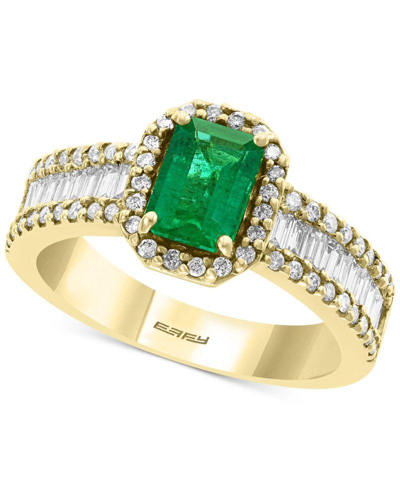 【格安SALEスタート】 エフィー レディース リング アクセサリー EFFY Diamond (5/8 ct. t.w.) & Emerald (9/10 ct. t.w.) Ring in 14k Yellow Gold Emerald, WRAP TOP 6e16588e