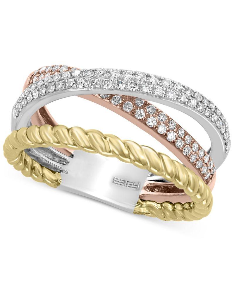 【新作入荷!!】 エフィー Gold レディース リング Yellow/White/Rose アクセサリー EFFY Diamond (3/8 ct. エフィー t.w.) Tri-Color Statement Ring in 14k Gold 14k White Gold and 14k Rose Gold Yellow/White/Rose Gold, ウォッチリスト:3769d358 --- villanergiz.com