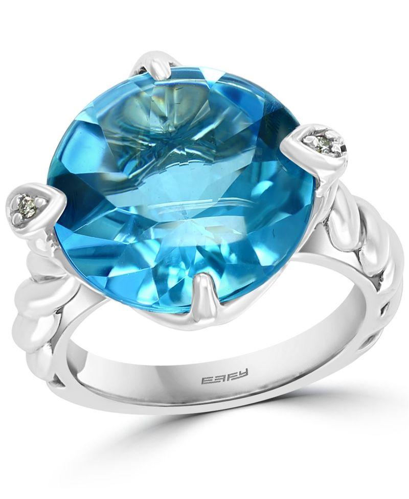 送料無料 サイズ交換無料 エフィー レディース アクセサリー 販売期間 限定のお得なタイムセール リング Silver EFFY Blue Ring Diamond 売れ筋 Accent t.w. Topaz 12 n ct. Sterling