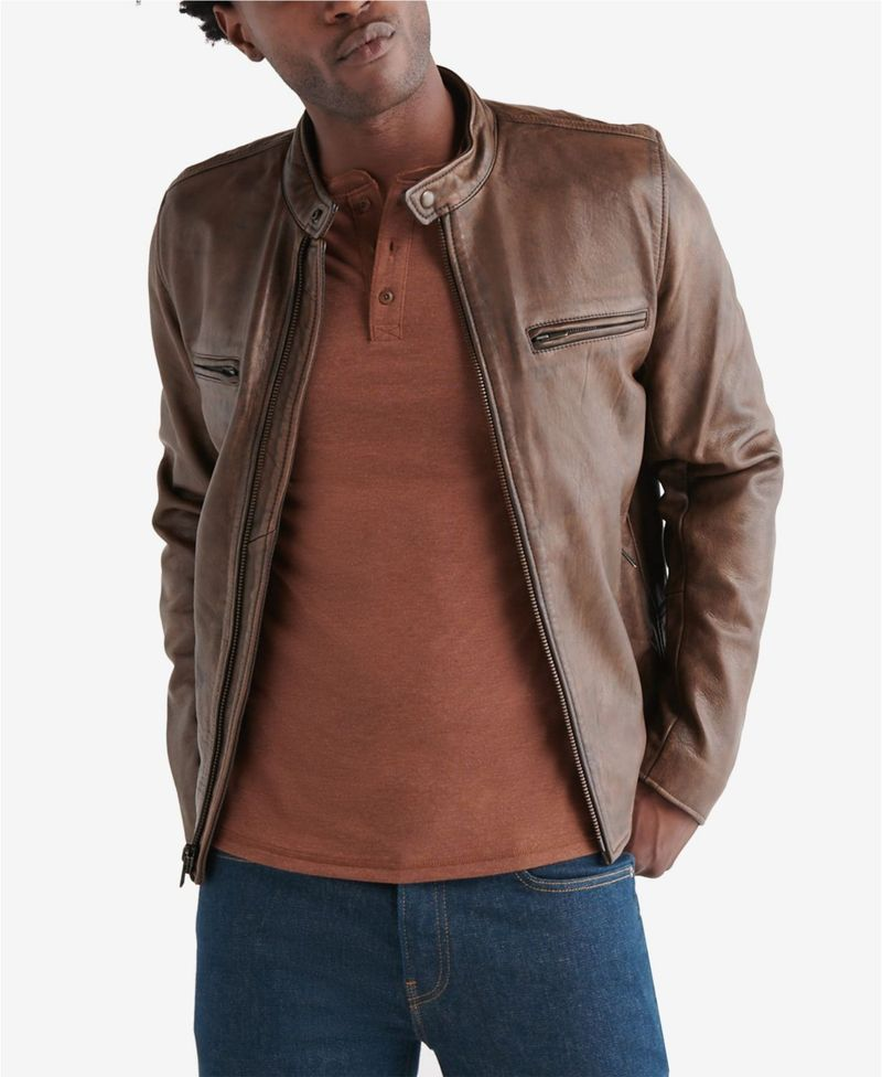 送料無料 サイズ交換無料 店内全品対象 ラッキーブランド メンズ アウター ジャケット Leather Men's ブルゾン Jacket Pinecone 限定価格セール Retro