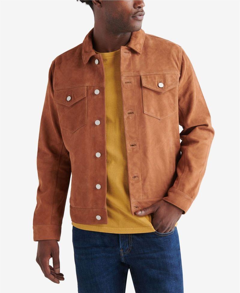 <title>送料無料 サイズ交換無料 ラッキーブランド 供え メンズ アウター ジャケット ブルゾン Cowboy Con Men's Suede Trucker Jacket</title>