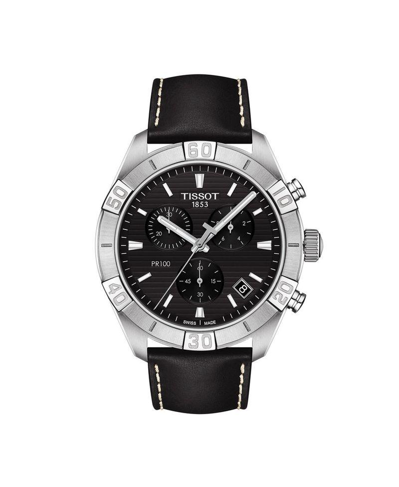 【即納&大特価】 ティソット レディース 腕時計 アクセサリー Strap Men's Swiss 腕時計 Chronograph PR Black 100 Sport Black Leather Strap Watch 44mm Black, センスポショップ:f1ba6a10 --- askamore.com