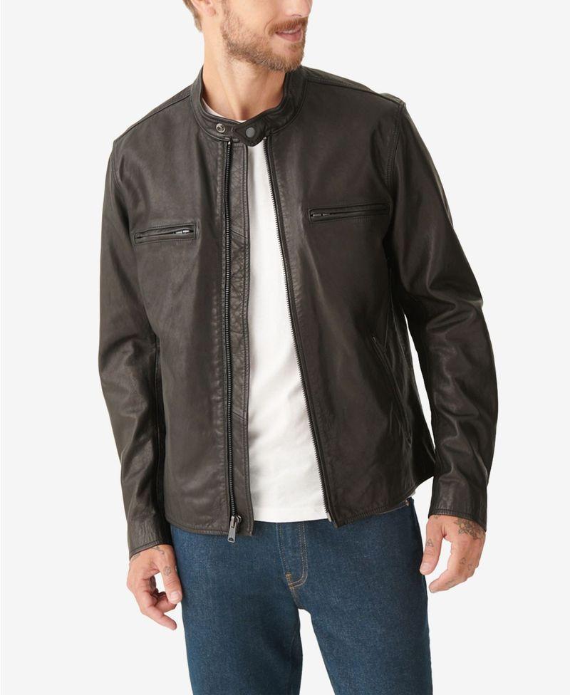 <title>送料無料 サイズ交換無料 ラッキーブランド メンズ アウター 新着セール ジャケット ブルゾン Black Men's Waxed Leather Bonneville Jacket</title>