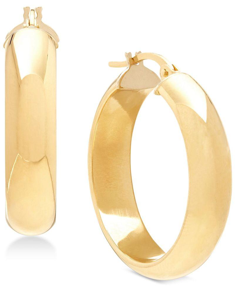 送料無料 サイズ交換無料 イタリアン ゴールド レディース アクセサリー おトク ピアス 再再販 イヤリング Yellow Gold in D-Shape Earrings 14k Hoop