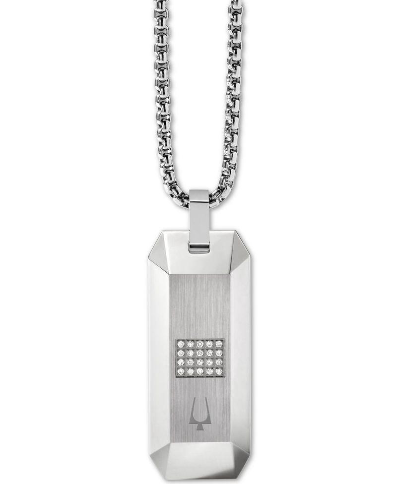 送料無料 サイズ交換無料 ブロバ 日本未発売 レディース アクセサリー ネックレス チョーカー チープ ペンダントトップ Stainless Steel Men's Diamond Dog ct. 10 Extender Pendant Necklace + 26 Tag 1 t.w. 2 in