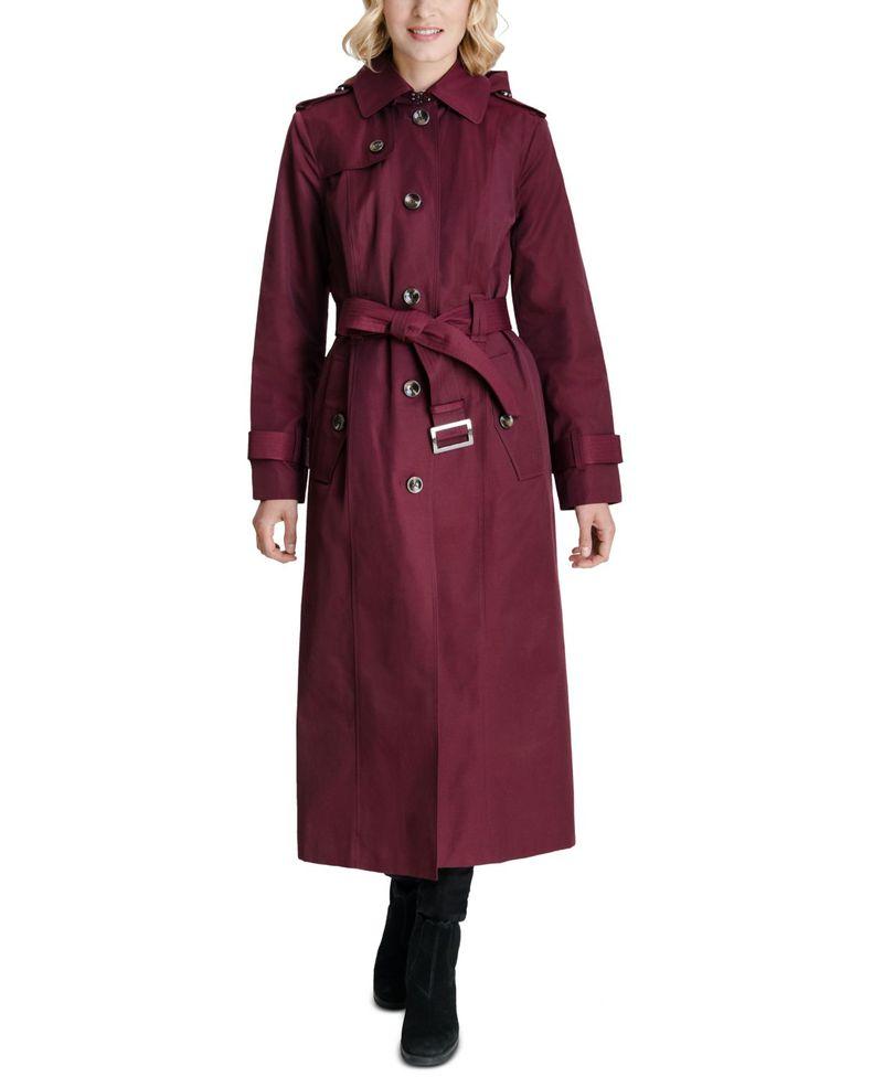 売れ筋商品 ロンドンフォグ レディース コート コート アウター Coat Hooded Maxi ロンドンフォグ Trench Coat Burgundy, 沖縄県:428a0f56 --- independentescortsdelhi.in