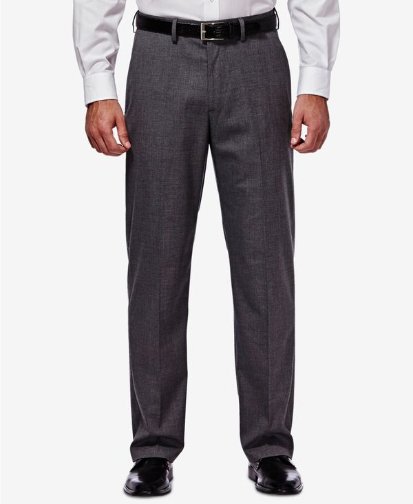 送料無料 メーカー直売 サイズ交換無料 ハガー メンズ ボトムス カジュアルパンツ Med Grey J.M. Men's 新商品 Stretch Regular Sharkskin Suit Fit Pants Classic