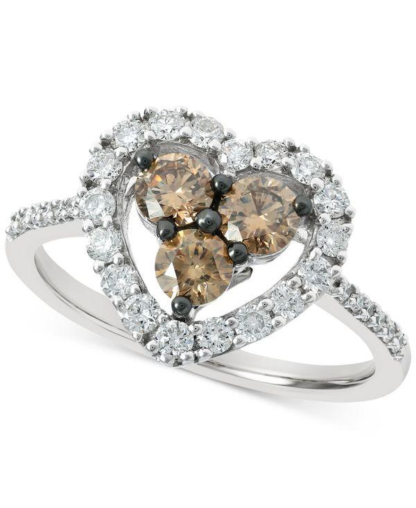 送料無料 サイズ交換無料 ル ヴァン レディース アクセサリー リング White Gold Chocolate Diamond 1 Heart メーカー公式 《週末限定タイムセール》 2 Statement 3 in Nude t.w. 14k 8 ct. Ring