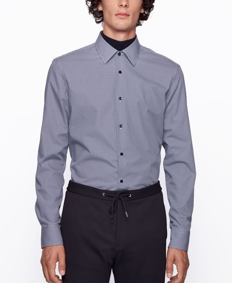 1着でも送料無料 送料無料 レビューを書けば送料当店負担 サイズ交換無料 ヒューゴボス メンズ トップス シャツ Open Men's Slim-Fit Jano Shirt Blue BOSS