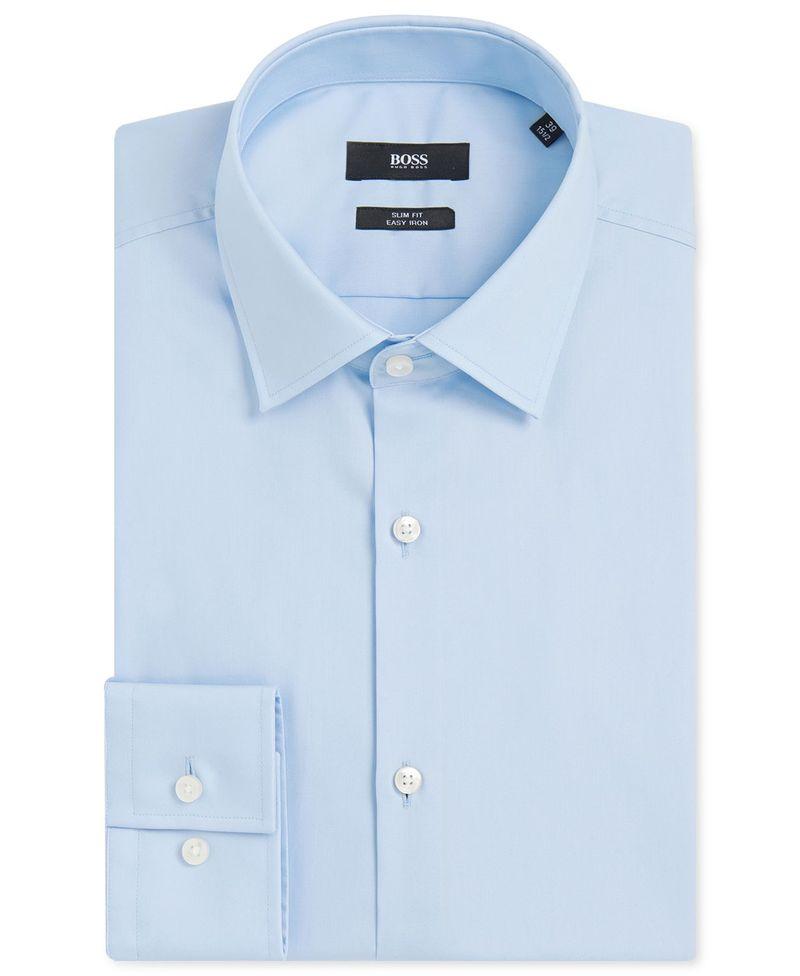 送料無料 サイズ交換無料 ヒューゴボス メンズ トップス シャツ 全品最安値に挑戦 LightPastelBlue Dress Cotton BOSS Shirt Slim-Fit 激安特価品 Easy-Iron Men's