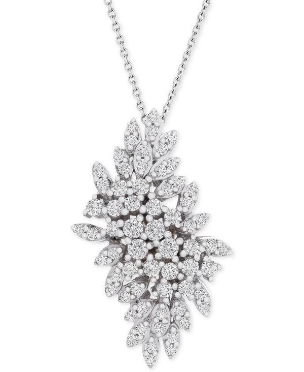 送料無料 サイズ交換無料 ラップド イン ラヴ レディース アクセサリー 激安通販専門店 ネックレス チョーカー ペンダントトップ White ct. t.w. 即出荷 Cluster Pendant Diamond in Necklace 1 18 Gold 14k