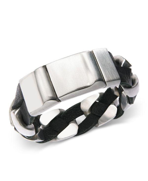 送料無料 サイズ交換無料 完売 ローナ サットン レディース アクセサリー ブレスレット バングル アンクレット Bracelet Steel Chain Leather Stainless Silver Black and 人気海外一番