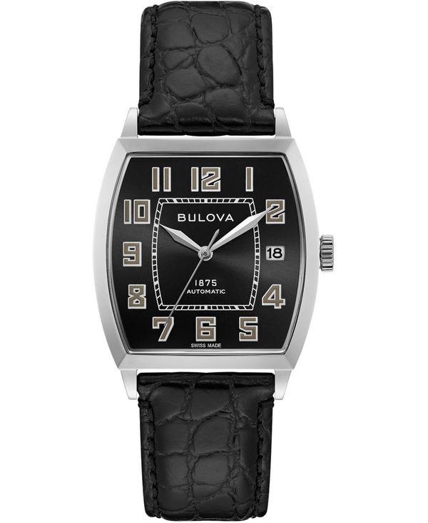 【オープニング 大放出セール】 ブロバ メンズ 腕時計 Watch アクセサリー LIMITED EDITION 33x33.5mm Men's Swiss Automatic 腕時計 Joseph Bulova Black Leather Strap Watch 33x33.5mm Black, 最上郡:bbbb9f69 --- domains.virtualcobalt.com