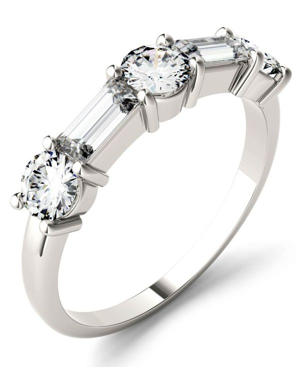 新作人気モデル チャールズ アンド コルバード White レディース リング Gold アクセサリー Moissanite Rose Round and Baguette Stackable Ring (1-1/6 ct. tw. Diamond Equivalent) in 14k White or Rose Gold White Gold, SLOWWEARLION:53ab3381 --- superbirkin.com