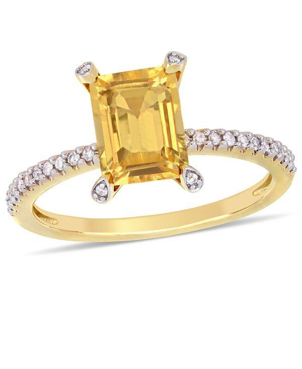 最安値に挑戦 送料無料 サイズ交換無料 値引き デルマー レディース アクセサリー リング Yellow Citrine 1-1 2 and Diamond Ring ct.t.w. 1 in 10 10k Gold