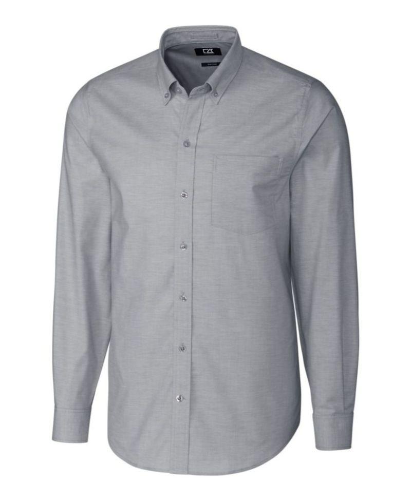 送料無料 サイズ交換無料 カッターアンドバック メンズ トップス 時間指定不可 シャツ Long 購入 Men's Charcoal Oxford Stretch Sleeve