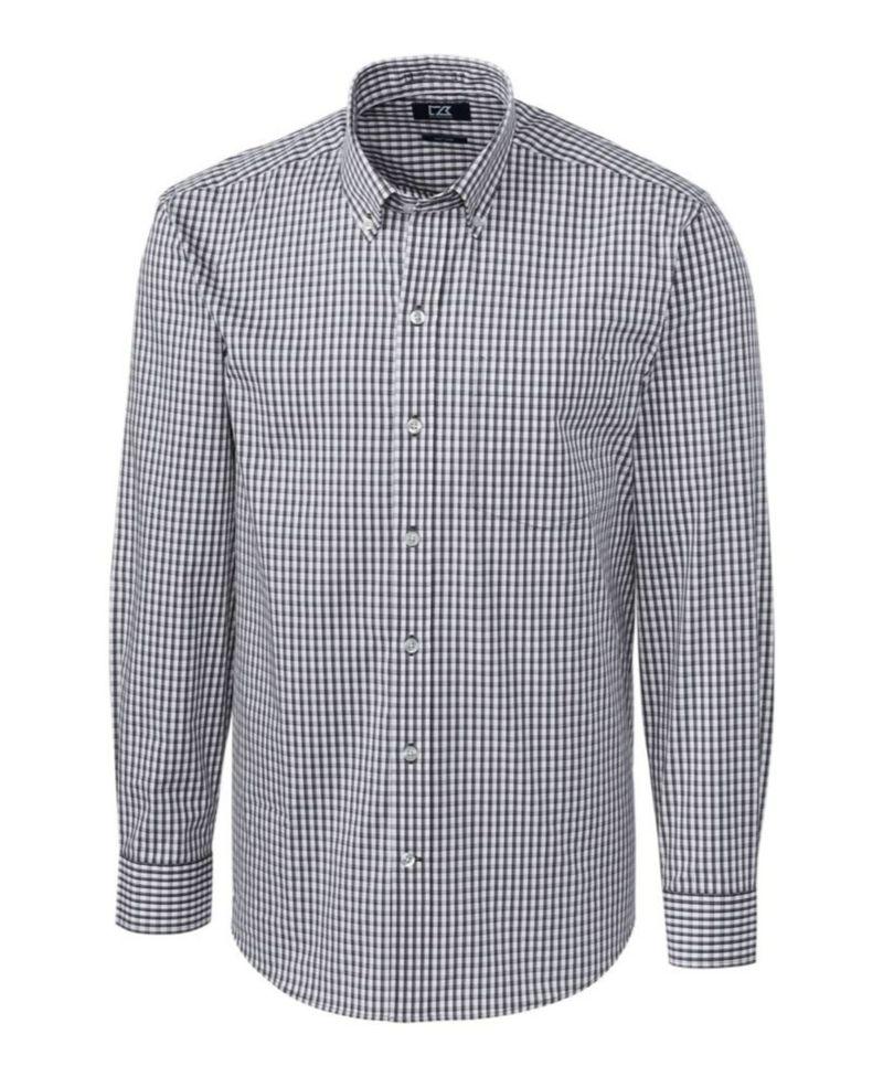 送料無料 サイズ交換無料 カッターアンドバック メンズ トップス シャツ Charcoal Sleeve Stretch Shirt Long Men's モデル着用 今季も再入荷 注目アイテム Gingham
