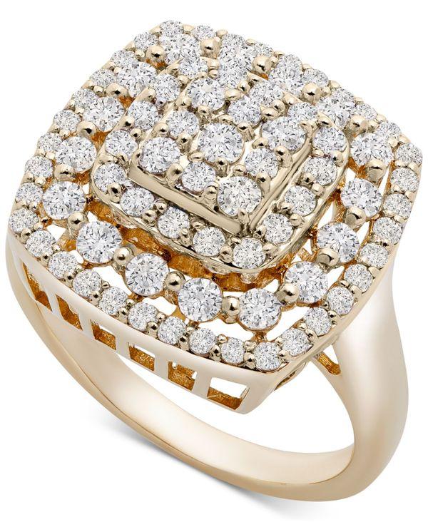 ラップド イン ラヴ レディース リング アクセサリー Cushion Cluster Statement Ring (1 ct. t.w.) in 14k Gold 14K Yellow Gold
