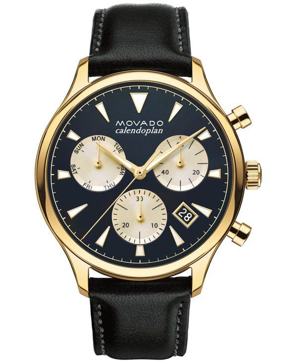 <title>送料無料 サイズ交換無料 モバド メンズ アクセサリー 至上 腕時計 Black Men's Swiss Chronograph Heritage Series Calendoplan Leather Strap Watch 43mm 3650006</title>
