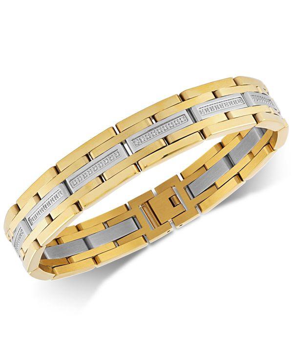 送料無料 日本最大級の品揃え サイズ交換無料 エスクァイア メンズ 売れ筋ランキング アクセサリー ブレスレット バングル アンクレット Gold Tone Diamond Link Bracelet 1 in Steel Stainless ct. 2 Ion-Plate t.w.