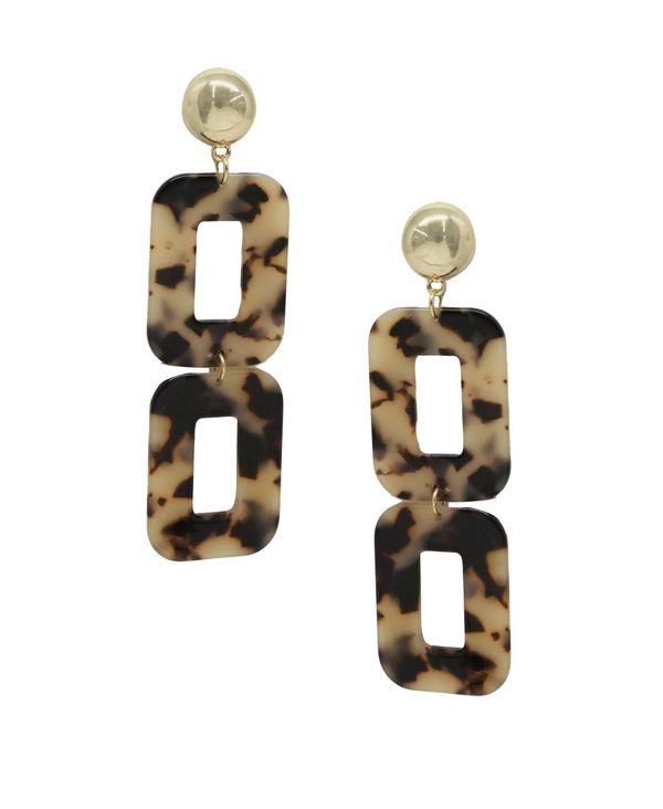 Earrings Resin アクセサリー ピアス・イヤリング Square レディース エティカ Brown Double