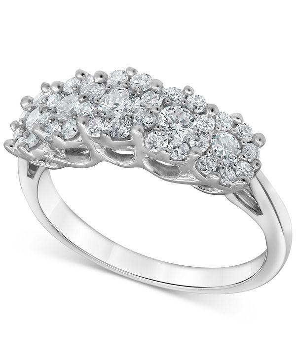 送料無料 サイズ交換無料 フォーエバー グロウン ダイヤモンズ 激安通販 レディース アクセサリー リング White Gold Lab-Created 1 ct. Silver Statement Diamond t.w. オンラインショッピング Ring Cluster in Sterling Horizontal