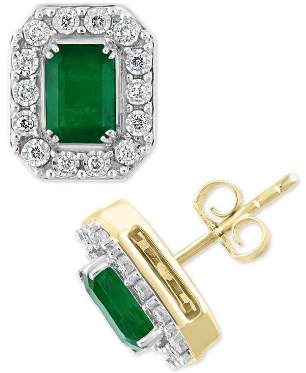 【格安saleスタート】 エフィー レディース in ピアス・イヤリング アクセサリー White Gold EFFY® Emerald (1-7/8 ct. t.w.) & Diamond (1/5 ct. t.w.) Stud Earrings in 14k Gold & White Gold Emerald Earrings, ハチジョウマチ:ce852a68 --- easassoinfo.bsagroup.fr