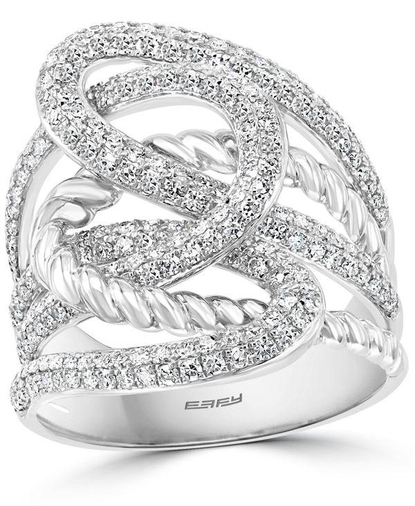 【楽天ランキング1位】 エフィー レディース リング アクセサリー EFFY® Diamond Openwork Statement Ring (1 ct. t.w.) in 14k White Gold White Gold, トウハクグン fbc15294