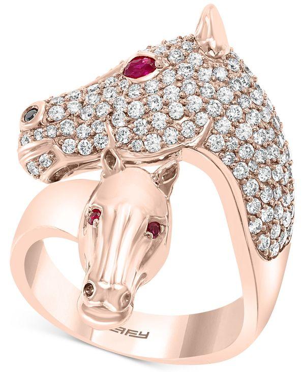 Certified レディース Diamond t.w.) アクセサリー Rose in EFFY® (1/10 Gold 14k Ruby Rose Horse Gold & Ring t.w.) リング ct. エフィー (1-1/6 ct.