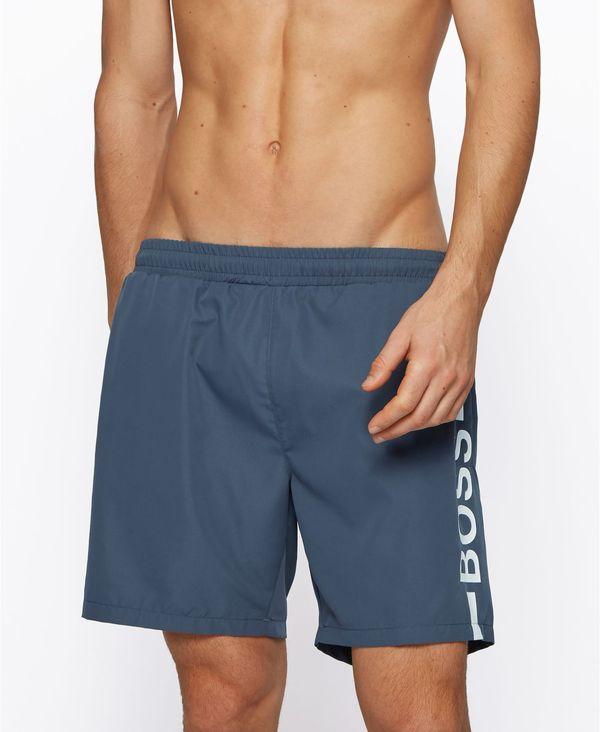 Grey Logo-Print ヒューゴボス Swim Shorts Men's トップス メンズ ポロシャツ BOSS Dark