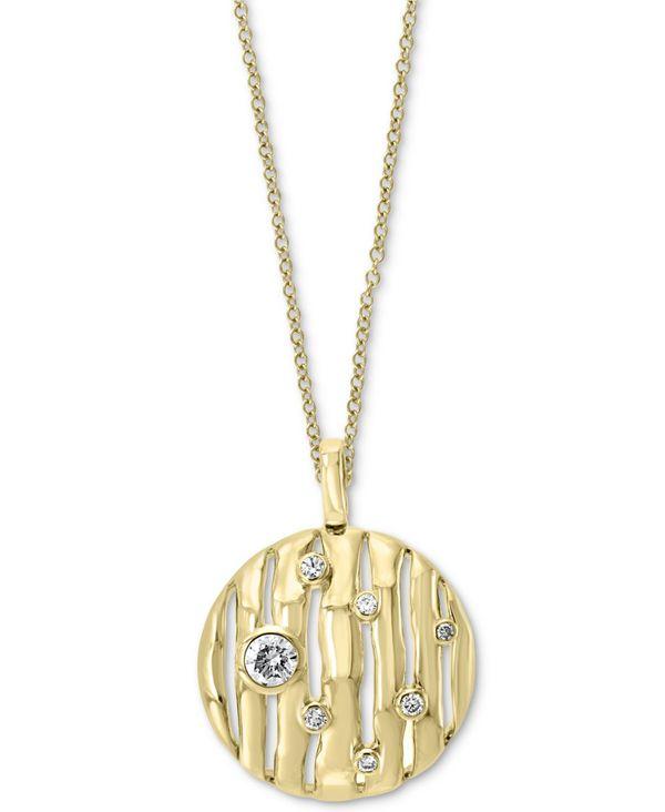 【激安アウトレット!】 エフィー レディース ネックレス Gold Disc・チョーカー・ペンダントトップ アクセサリー EFFY® Diamond 18 Bamboo Disc 18 Pendant Necklace (1/4 ct. t.w.) in 14k Gold Yellow Gold, nonsence factory:7c2c602d --- risesuper30.in