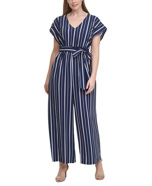 Size Striped トップス レディース ワンピース Plus Ivory/Blue Jumpsuit ジェシカハワード