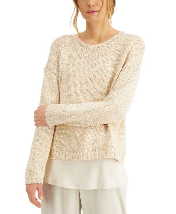 大切な エイリーンフィッシャー レディース ニット・セーター アウター Organic Cotton Drop-Shoulder Sweater Charcoal, KEITOS 38d0bcdb