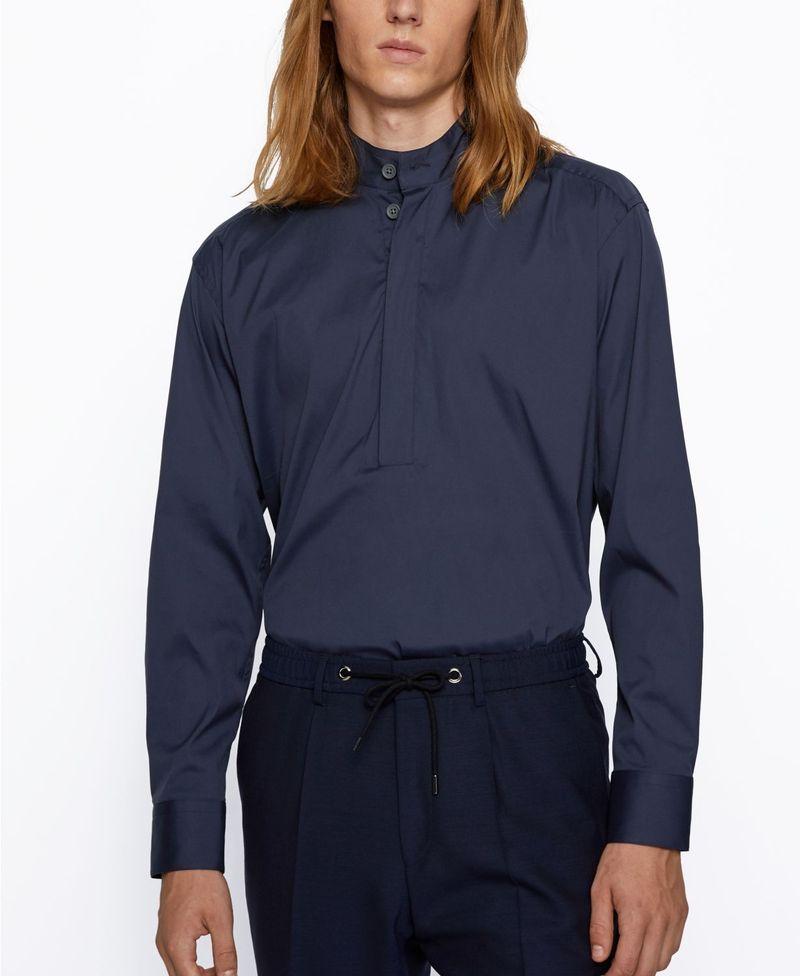送料無料 サイズ交換無料 ヒューゴボス メンズ トップス シャツ Navy アウトレット☆送料無料 Feric BOSS Relaxed-Fit Men's 35%OFF Shirt