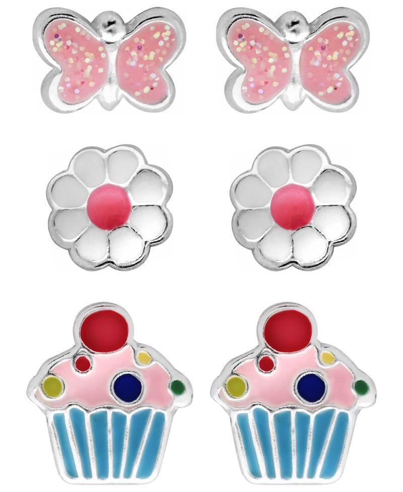 送料無料 サイズ交換無料 ローナ サットン レディース アクセサリー ピアス イヤリング Assorted Rhona Sutton 4 Kids Stud of Earrings Silver 祝日 Children's Cupcake Sterling Set 2020 新作 Butterfly - in Flower 3