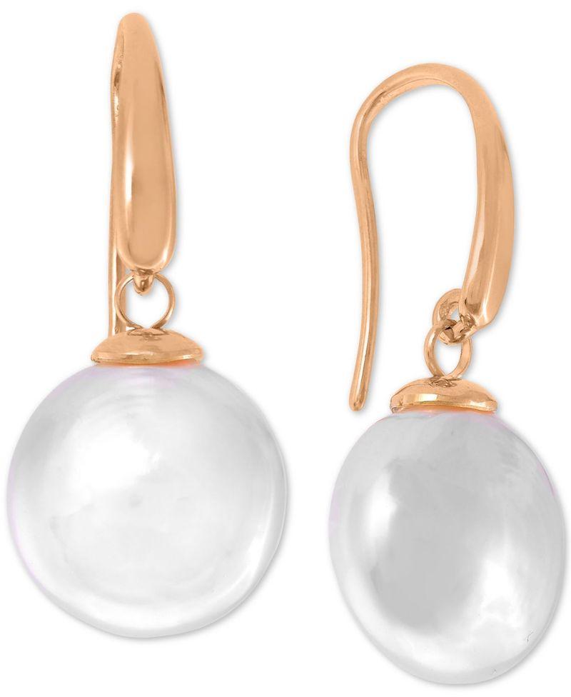 送料無料 サイズ交換無料 マジョリカ レディース アクセサリー ピアス イヤリング Rose Sterling 新作販売 Silver Drop 祝日 Pearl Coin Earrings Imitation Gold