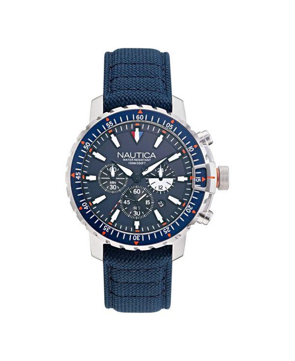 ナウティカ メンズ 腕時計 アクセサリー Men's Analog Blue Nylon Strap Watch 45 mm Blue