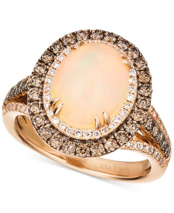 ル ヴァン レディース リング アクセサリー Deep Sea Blue Topaz (4 ct. t.w.) & Diamond (7/8 ct.t.w.) Statement Ring in 14k Rose Gold Opal