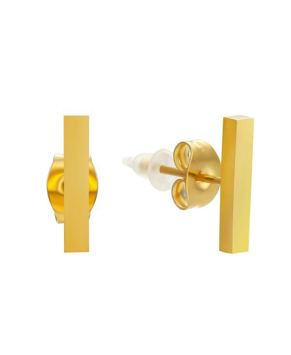 送料無料 サイズ交換無料 輸入 スティールタイム レディース アクセサリー ピアス イヤリング Gold-Plated Stainless Steel 18K 即納最大半額 Micron Stud Earrings Bar Gold Small Plated