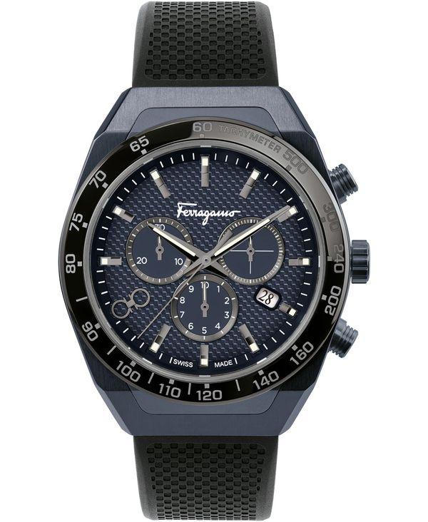 送料無料 サイズ交換無料 フェラガモ メンズ アクセサリー お得セット 腕時計 Black Men's お得クーポン発行中 Chronograph 43mm Caoutchouc Watch SLX Rubber Strap Swiss
