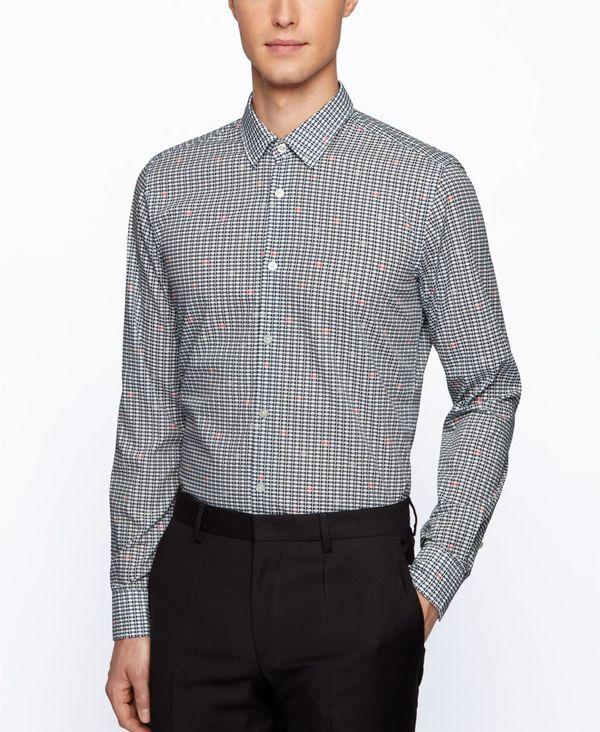 送料無料 お買得 サイズ交換無料 ヒューゴボス メンズ トップス シャツ Dark Men's Blue Slim-Fit Cotton Ronni_F Shirt BOSS 店内全品対象