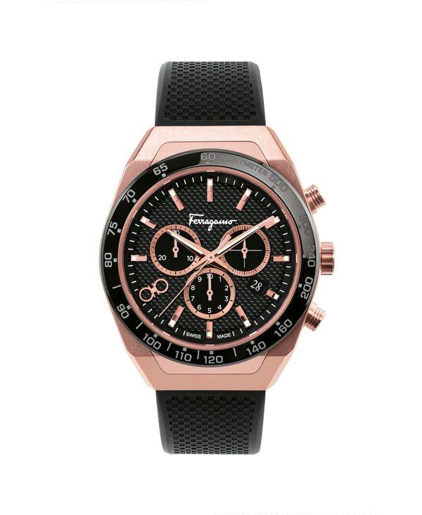 送料無料 サイズ交換無料 フェラガモ メンズ アクセサリー 腕時計 Rose Gold Men's Swiss Chronograph Rubber Strap 最新 70%OFFアウトレット 43mm Black SLX Caoutchouc