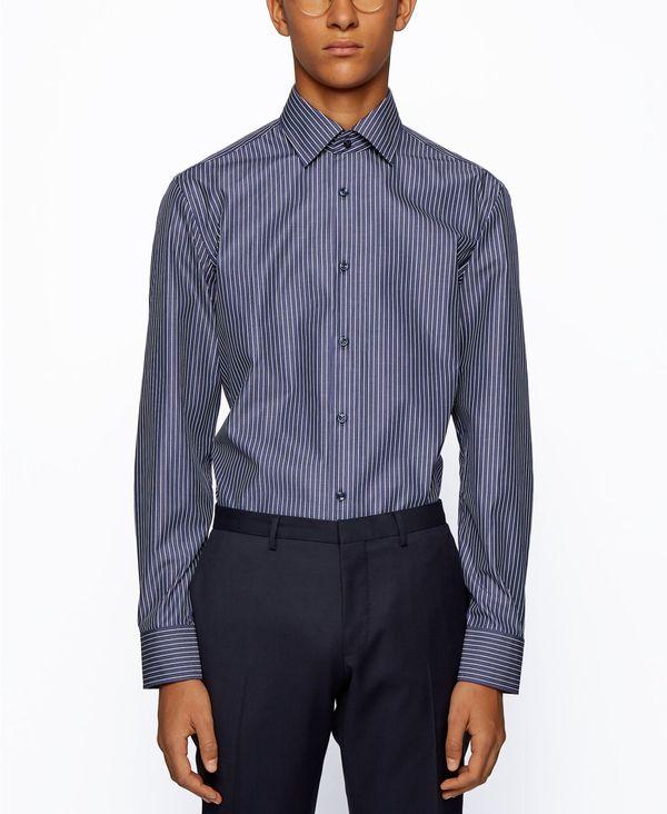 送料無料 サイズ交換無料 ヒューゴボス メンズ トップス シャツ Navy Jango Slim-Fit Men's Shirt Cotton 1着でも送料無料 トレンド BOSS