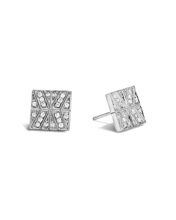 【2021 新作】 ジョン・ハーディー White/Silver レディース ピアス with Chain・イヤリング アクセサリー Sterling Silver Modern Chain Stud Earrings with Diamonds White/Silver, フクタマ:8f149646 --- fotostrba.sk