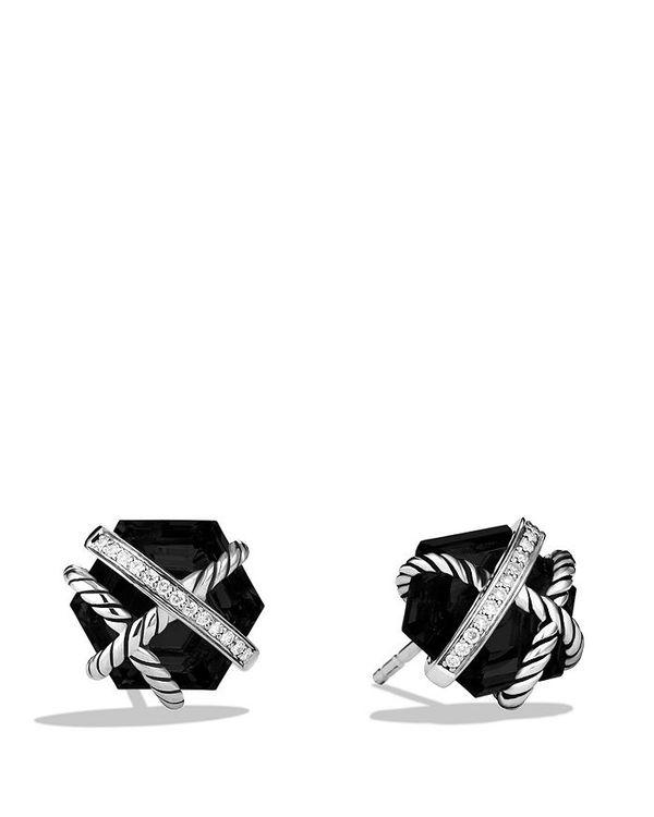 送料無料 売れ筋ランキング サイズ交換無料 デイビット ユーマン レディース アクセサリー 迅速な対応で商品をお届け致します ピアス イヤリング Black Diamonds 10mm Onyx Earrings Cable Wrap with and